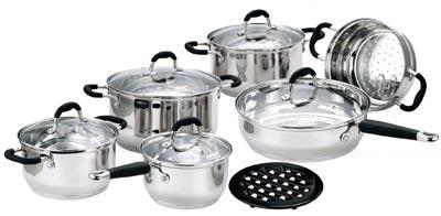 Набор кухонной посуды Calve, цвет: серебристый, 12 предметов. CL-1055CL-1055Набор кухонной посуды Calve состоит из сковороды, трех кастрюль и сотейника с крышками, вставки-пароварки и бакелитовой подставки. Предметы набора выполнены из нержавеющей стали. Изделия имеют удобные ручки эргономичной формы. Надежное крепление ручки гарантирует безопасность использования.Комбинированная крышка из высококачественной нержавеющей стали и жаропрочного стекла позволяет следить за процессом приготовления, не открывая крышки. Специальное отверстие для выхода пара позволяет готовить с закрытой крышкой, предотвращая выкипание. Бакелитовая подставка позволит без опасения поставить изделие на любую поверхность.Подходят для газовых, электрических, стеклокерамических и галогенных плит. Можно мыть в посудомоечной машине и использовать в духовом шкафу. В набор входят:- кастрюля с крышкой, диаметр 24 см, объем 6 л.,- кастрюля с крышкой, диаметр 18 см, объем 2,7 л.,- кастрюля с крышкой, диаметр 20 см, объем 3,6 л.,- сотейник с крышкой,диаметр 16 см, объем 1,9 л.,- сковорода с крышкой, диаметр 24 см,- вставка-пароварка,- подставка.