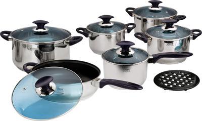 Набор кухонной посуды Calve с антипригарным покрытием, цвет: серебристый, 13 предметов