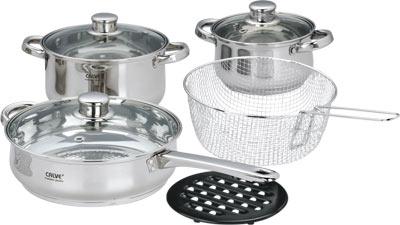 Набор кухонной посуды Calve, с подставкой, 9 предметов. CL-1065CL-1065Набор Calve состоит из 2 кастрюль, сковороды с крышками, корзины для фритюра с ручкой и бакелитовой подставки. Изделия изготовлены из высококачественной нержавеющей стали. Матовая полировка придает посуде безупречный внешний вид.Благодаря уникальной конструкции дна, тепло, проходя через металл, равномерно распределяется по стенкам посуды. Для приготовления пищи в такой посуде требуется минимальное количество масла, тем самым уменьшается риск потери витаминов и минералов в процессе термообработки продуктов. Крышки выполнены из жаростойкого прозрачного стекла и нержавеющей стали, оснащены ручкой и отверстием для выпуска пара. Такие крышки позволяют следить за процессом приготовления пищи без потери тепла. Они плотно прилегают к краю и сохраняют аромат блюд. Бакелитовая подставка позволит без опасения поставить кастрюлю на любую поверхность.Подходит для всех типов плит, включая индукционные. Можно мыть в посудомоечной машине.Объем кастрюль: 3,6 л и 1,8 лДиаметр кастрюль: 20 см и 16 см Объем сковороды: 2,7 л Диаметр сковороды: 24 см Диаметр корзины для фритюра: 20 см