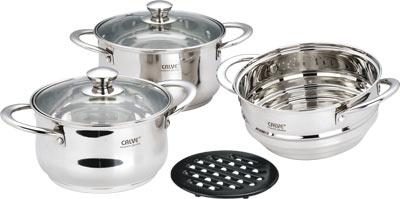 Набор кухонной посуды Calve, с подставкой, цвет: серебристый, 6 предметовCL-1067Набор Calve состоит из 2 кастрюль с крышками, вставки-пароварки и бакелитовой подставки. Изделия изготовлены из высококачественной нержавеющей стали.Зеркальная полировка придает посуде безупречный внешний вид. Благодаря уникальной конструкции дна, тепло, проходя через металл, равномерно распределяется по стенкам посуды. Для приготовления пищи втакой посуде требуется минимальное количество масла, тем самым уменьшается риск потери витаминов и минералов в процессе термообработкипродуктов.Крышки выполнены из жаростойкого прозрачного стекла, оснащены ручкой, металлическим ободом и отверстием для выпуска пара. Такие крышки позволяютследить за процессом приготовления пищи без потери тепла. Они плотно прилегают к краю и сохраняют аромат блюд.Бакелитовая подставка позволит без опасения поставить кастрюлю на любую поверхность. Подходит для всех типов плит, включая индукционные. Можно мыть в посудомоечной машине. Объем кастрюль: 3 л; 4 л.Диаметр кастрюль: 18 см; 20 см. Диаметр вставки-пароварки: 18 см.