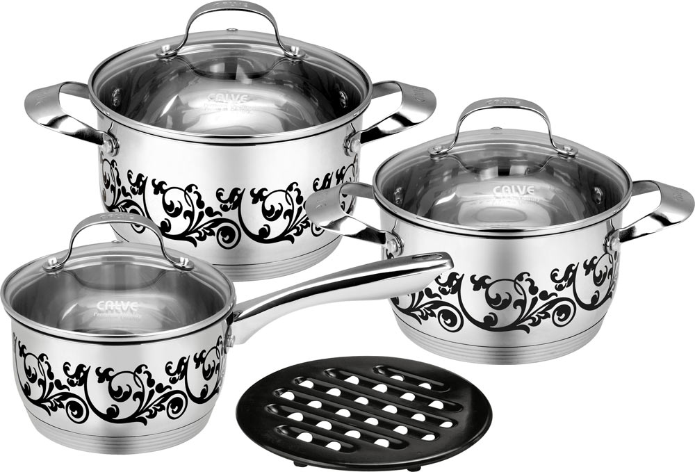 Набор кухонной посуды Calve, 7 предметов. CL-1875CL-1875Набор кухонной посуды Calve состоит из сотейника, двух кастрюль, 3 крышек и бакелитовой подставки. Предметы набора выполнены из нержавеющей стали. Изделия имеют удобные ручки эргономичной формы. Надежное крепление ручки гарантирует безопасность использования.Комбинированная крышка из высококачественной нержавеющей стали и жаропрочного стекла позволяет следить за процессом приготовления, не открывая крышки. Специальное отверстие для выхода пара позволяет готовить с закрытой крышкой, предотвращая выкипание. Бакелитовая подставка позволит без опасения поставить изделие на любую поверхность.Изделия имеют эксклюзивный термосенсор. При нагревании, рисунок на изделиях меняет цвет.Зеркальная полировка придает посуде стильный внешний вид. Подходят для всех видов плит, включая индукционные. Можно мыть в посудомоечной машине и использовать в духовом шкафу. В набор входят:- кастрюля с крышкой, диаметр 18 см, объем 1,7 л,- кастрюля с крышкой, диаметр 20 см, объем 2,4 л,- сотейник с крышкой, диаметр 16 см, объем 1,7 см,- подставка.