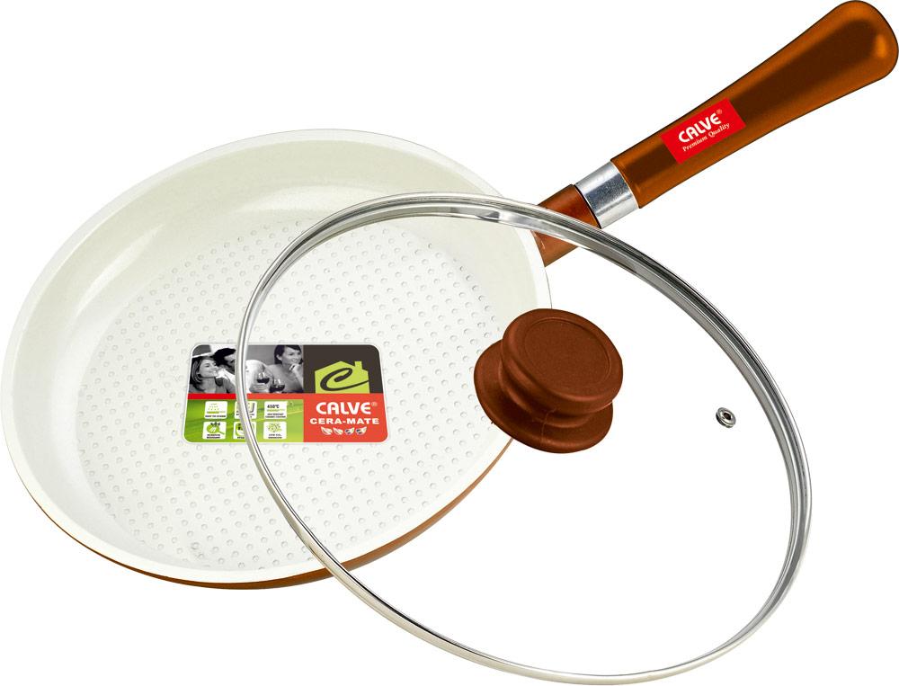 Сковорода Calve с крышкой, керамическое покрытие, со съемной ручкой, цвет: белый, оранжевый. Диаметр 24 смCL-1932Сковорода Calve выполнена из высококачественного литого алюминия с антипригарным покрытием CERA-MATE. Оно позволяет готовить с минимальным добавлением масла. Съемная деревянная ручка удобна в использовании и позволяет компактно хранить сковороду. Жаропрочная стеклянная крышка плотно прилегает к краям посуды, имеет отверстие для выхода пара и металлический обод.Подходит для газовых, электрических, стеклокерамических и галогенных плит. Можно мыть в посудомоечной машине.Диаметр по верхнему краю: 24 см.Толщина стенки: 2,5 мм.