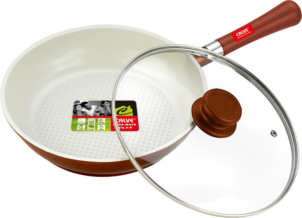 Сковорода Calve с крышкой, с керамическим покрытием, со съемной ручкой. Диаметр 26 смCL-1934Сковорода Calve изготовлена из алюминия. Внутреннее керамическое покрытие CERA-MATE абсолютно безопасно для здоровья человека иокружающей среды. Кроме того, с таким покрытием пища не пригорает и не прилипает к стенкам. Готовить можно с минимальным количеством подсолнечного масла. Сковорода быстро разогревается, распределяя тепло по всей поверхности, что позволяет готовить в энергосберегающем режиме, значительно сокращая время, проведенное у плиты.Сковорода оснащена съемной удобной ручкой, выполненной из дерева. Такая ручка не нагревается в процессе готовки и обеспечивает надежный хват. Крышка изготовлена из жаропрочного стекла, оснащена ручкой, отверстием для выпуска пара и металлическим ободом. Благодаря такой крышке можно следить за приготовлением пищи без потери тепла. Подходит для газовых, электрических, стеклокерамических, галогенных плит. Можно мыть в посудомоечной машине и использовать в духовом шкафу.Диаметр сковороды по верхнему краю: 26 см. Толщина стенки: 2,5 мм.Высота стенки: 6 см.Длина ручки: 19 см.Диаметр дна: 21 см.