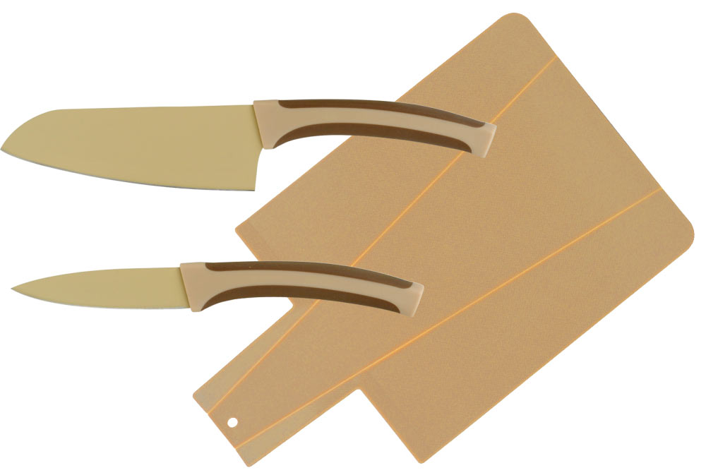 """Набор ножей """"Calve"""" состоит из 2 ножей (Сантоку и ножа для чистки овощей) и разделочной доски. Предметы набора изготовлены из высокоуглеродистой стали с цветным термостойким покрытием и пластика.  Такой набор займет достойное место среди аксессуаров на вашей кухне.  Длина лезвия ножа Сантоку: 13 см.  Длина лезвия ножа для чистки овощей: 9 см. Размеры разделочной доски: 34 x 22 x 0,3 см."""
