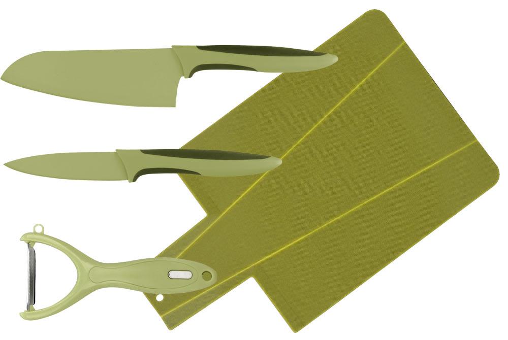 Набор ножей Calve, с разделочной доской, цвет: салатовый, 4 предметаCL-3119Набор ножей Calve состоит из 3 ножей (Сантоку, овощечистки и ножа для чистки овощей) и разделочной доски. Предметы набора изготовлены из высокоуглеродистой стали с цветным термостойким покрытием и пластика. Такой набор займет достойное место среди аксессуаров на вашей кухне. Длина лезвия ножа Сантоку: 13 см. Длина лезвия ножа для чистки овощей: 9 см.Размеры разделочной доски: 34 x 22 x 0,3 см.
