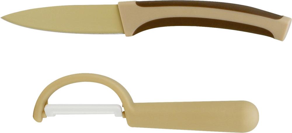 """Набор ножей """"Calve"""" состоит из ножа для чистки и овощечистки. Лезвия ножей выполнены из высококачественной высокоуглеродистой стали. Внешнее термостойкое покрытие не подвергается коррозии и не придает металлического привкуса или запаха, а также сохраняет свежесть продуктов. Режущая кромка лезвий устойчива к притуплению. Ножи высоко гигиеничны и легки в очистке. Рукоятки эргономичной формы выполнены из пластика. Специальный дизайн рукоятки обеспечивает комфортный и легко контролируемый захват. Длина лезвия ножа для чистки овощей: 9 см."""