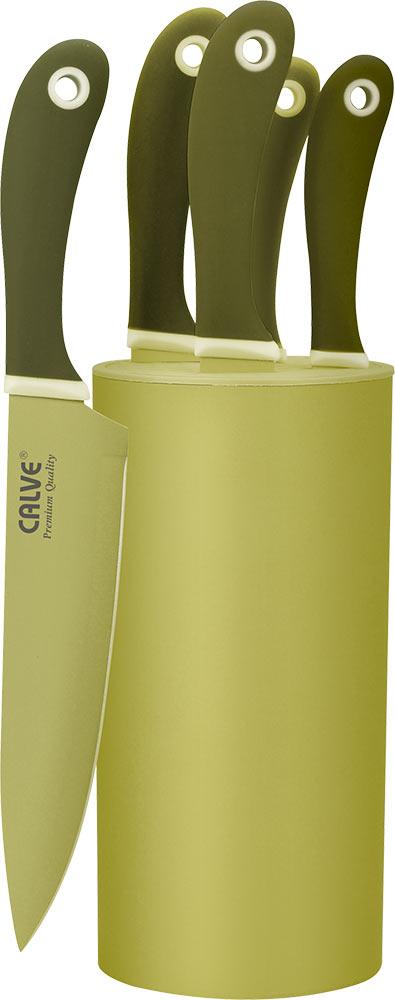 """Набор """"Calve"""" состоит из поварского, разделочного, универсального, хлебного ножей, ножа для чистки овощей и подставки. Лезвия ножей изготовлены из нержавеющей стали с цветным термостойким покрытием. Эргономичная рукоятка из пластика предотвращает выскальзывание ножа. Острые лезвия долгое время не требуют заточки. Ножи разработаны с учетом современных гигиенических стандартов и служат для предотвращения распространения болезнетворных бактерий, способствуя вашему здоровому питанию.  Легкий корпус подставки выполнен из высококачественного пластика. Лезвия ножей при хранении не касаются друг друга, тем самым максимально сохраняя свою остроту. Набор стильно и ярко оформит интерьер кухни, а приготовление пищи станет приятным занятием. Длина лезвия поварского ножа: 20 см. Длина лезвия разделочного ножа: 20 см. Длина лезвия универсального ножа: 13 см. Длина лезвия хлебного ножа: 20 см. Длина лезвия ножа для чистки овощей: 9 см."""