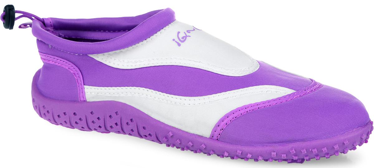Обувь для кораллов женская iQ, цвет: белый, сиреневый. 332122-2337. Размер 41332122-2337Женская обувь для кораллов iQ предназначена для пляжного отдыха, плавания в открытой воде, а также для любых видов водного спорта. Модель выполнена из неопрена и дополнена в области щиколотки шнурком с фиксатором, который плотно и надежно закрепит обувь на ноге, предотвращая ее соскальзывание при плавании и занятиях водными видами спорта. Подкладка и стелька из текстиля обеспечат комфорт и уют ногам. Аквашузы очень легки и быстро сохнут. Задник дополнен ярлычком для более удобного надевания обуви. Литая резиновая подошва не скользит и защищает от порезов. Такие тапочкиидеально подойдут для активного отдыха на каменистых пляжах, хождению по кораллам или горячему песку, а также для занятий аквааэробикой в бассейне.