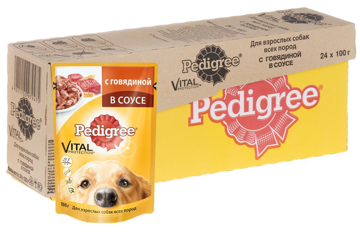 Консервы Pedigree для взрослых собак всех пород, с говядиной в соусе, 100 г, 24 шт40739Консервы Pedigree - это порция сочных мясных кусочков, которая обеспечит организм собаки витаминами и микроэлементами, необходимыми ей для здоровой и активной жизни. Особенности консервов Pedigree:- способствуют отличному пищеварению благодаря качественным ингредиентам и специально подобранной клетчатке; - здоровье кожи и шерсти поддерживают Омега-6, жирные кислоты, цинк и витамины группы В; - укрепление иммунитета и снижение негативного воздействия окружающей среды обеспечивает комплекс антиоксидантов, в том числе витамин Е; - не содержат сои, консервантов, ароматизаторов, искусственных красителей и усилителей вкуса.В рацион домашнего любимца нужно обязательно включать консервированный корм, ведь его главные достоинства - высокая калорийность и питательная ценность.Состав: мясо и субпродукты 37,5% (в том числе говядина минимум 4%), злаки, жомсвекольный, растительное масло, витамины, минеральные вещества.Пищевая ценность в 100 г: белки - 7 г, жиры - 4 г, зола - 2,5 г, клетчатка - 0,5 г, влага - 82 г, витамин А - 100 МЕ, витамин Е - не менее 1 мг.Энергетическая ценность в 100 г: 70 ккал.Вес: 24 х 100 г.Товар сертифицирован.
