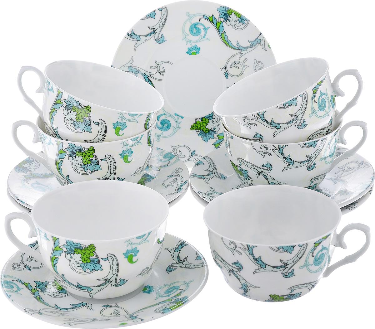 Чайный набор LarangE Рококо, цвет: белый, светло-зеленый, 12 предметов586-315Чайный набор LarangE Рококо состоит из шести чашек и шести блюдец, изготовленных из фарфора. Предметы набора оформлены изящным ярким рисунком. Чайный набор LarangE Рококо украсит ваш кухонный стол, а также станет замечательным подарком друзьям и близким.Объем чашки: 250 мл. Диаметр чашки по верхнему краю: 9,5 см. Высота чашки: 6 см. Диаметр блюдца: 14,5 см.