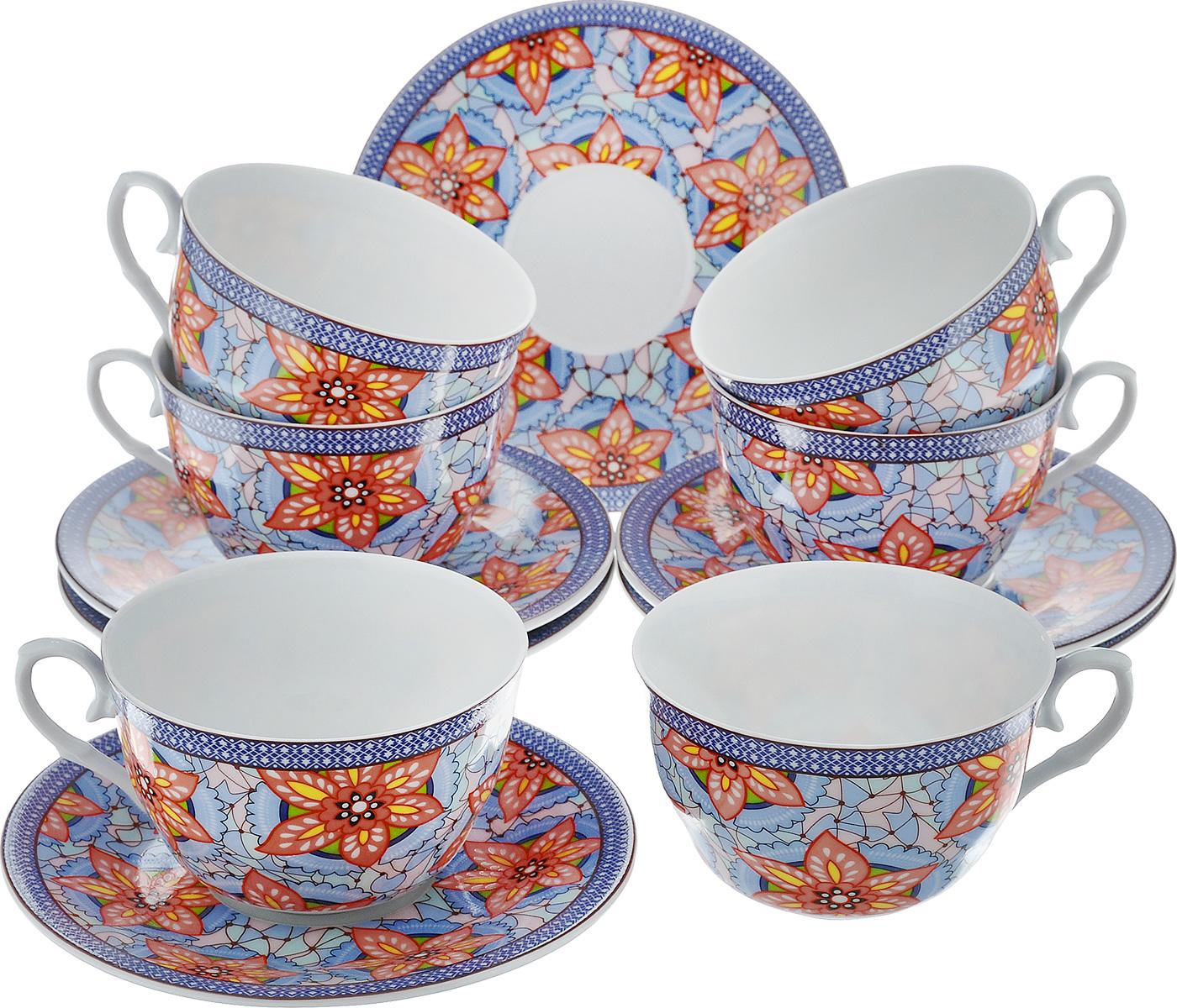 Чайный набор LarangE Витраж, цвет: голубой, персиковый, 12 предметов586-316Чайный набор LarangE Витраж состоит из шести чашек и шести блюдец,изготовленных из фарфора. Предметы набора оформленыизящным ярким рисунком.Чайный набор LarangE Витраж украсит ваш кухонный стол, а такжестанет замечательным подарком друзьям и близким.Объем чашки: 250 мл.Диаметр чашки по верхнему краю: 9 см.Высота чашки: 6 см.Диаметр блюдца: 14,5 см.