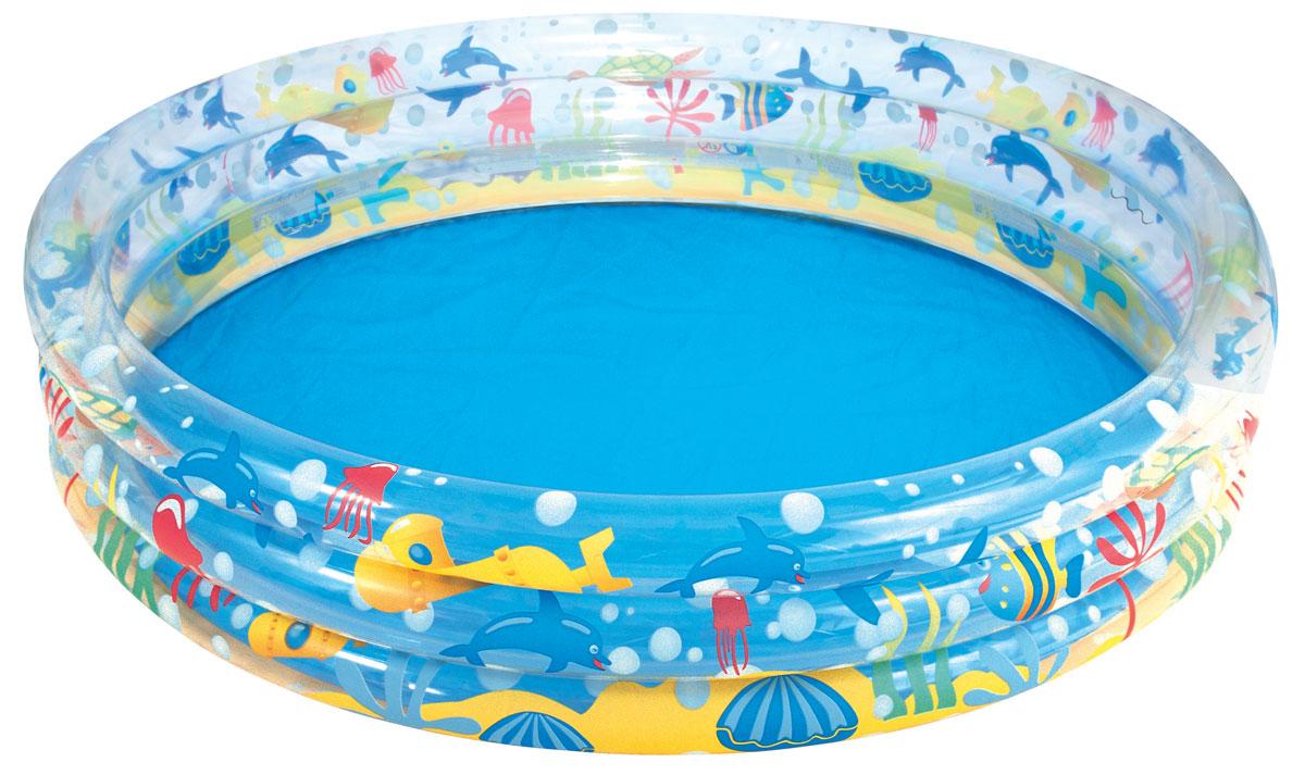 Bestway Бассейн надувной Глубокое погружение. 5100551005Круглый надувной бассейн Bestway Глубокое погружение предназначен для детского и семейного отдыха на свежем воздухе. Отлично подойдет для детей от 2 лет. Бассейн изготовлен из прочного, испытанного винила. Комфортный дизайн бассейна и приятная цветовая гамма сделают его не только незаменимым атрибутом летнего отдыха, но и оригинальным дополнением ландшафтного дизайна участка.В комплект с бассейном входит заплатка для ремонта в случае прокола.Бассейн имеет предохранительные клапаны. Расчетный объем бассейна - 480 литров.Использовать исключительно под наблюдением взрослых!
