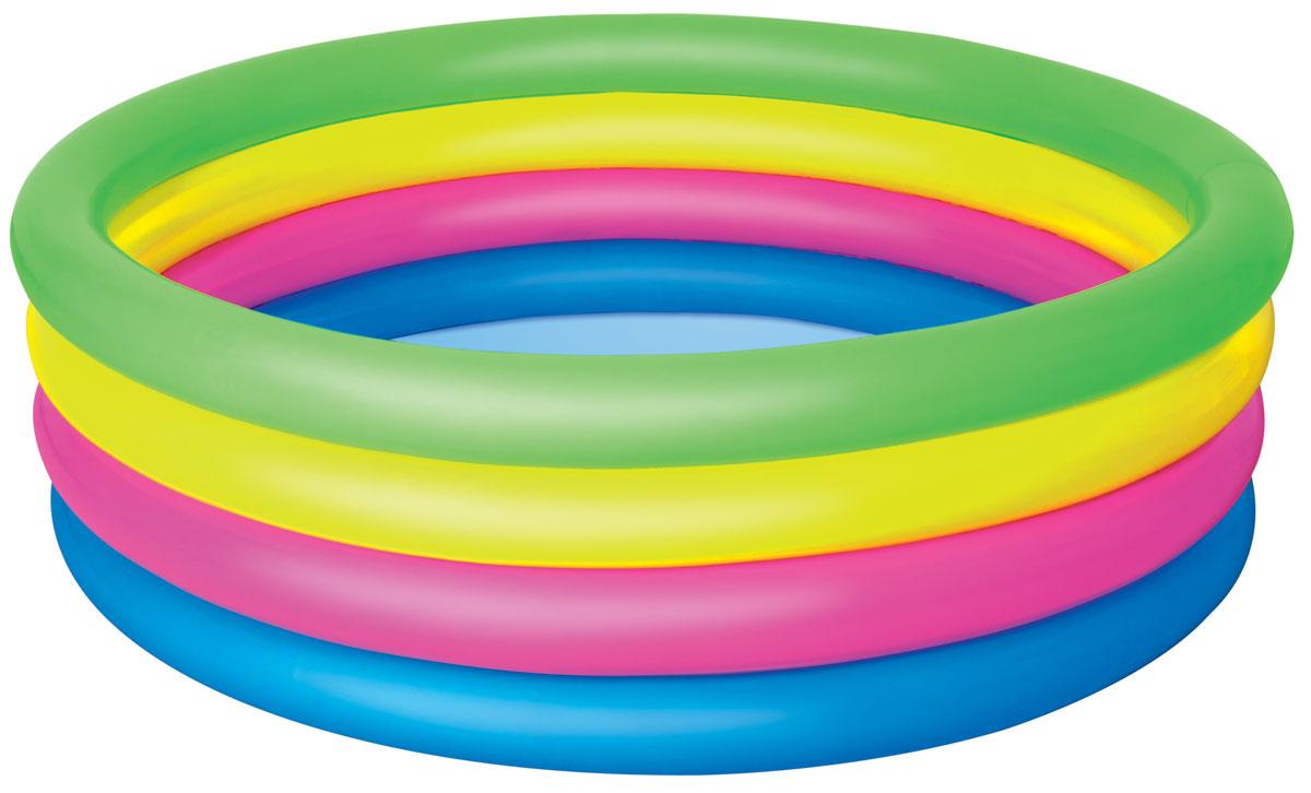 Bestway Бассейн надувной Разноцветный.51117Надувной бассейн Bestway Разноцветный с мягкими стенками станет оптимальным вариантом для детей в жаркую погоду. Изготовлен из прочного винила и имеет предохранительные клапаны.Состоит из 4 колец одинакового размера. Комфортный дизайн бассейна и приятная цветовая гамма сделают его не только незаменимым атрибутом летнего отдыха, но и оригинальным дополнением ландшафтного дизайна участка.В комплект с бассейном входит заплата для ремонта в случае прокола.Надувной бассейн Bestway Разноцветный подарит много положительных эмоций вашему малышу.Расчетный объем бассейна: 522 литра.