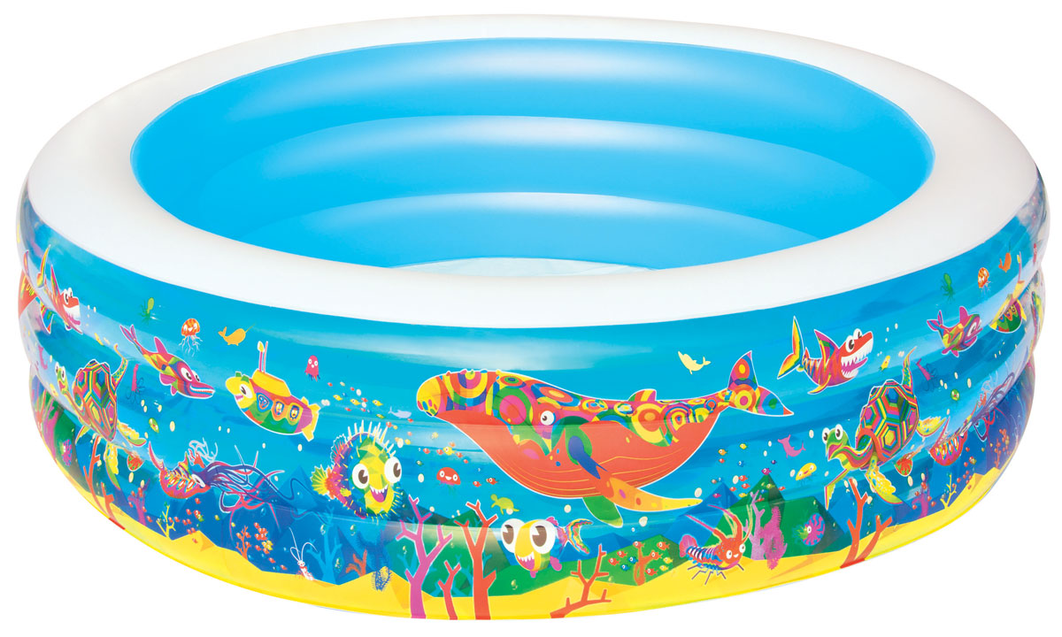 Bestway Бассейн надувной Подводный мир. 5112251122Надувной бассейн Bestway Подводный мир с мягкими стенками станет оптимальным вариантом для детей в жаркую погоду. Изготовлен из прочного винила.Состоит из 3 колец одинакового размера. Комфортный дизайн бассейна и приятная цветовая гамма сделают его не только незаменимым атрибутом летнего отдыха, но и оригинальным дополнением ландшафтного дизайна участка. Вода из бассейна спускается с помощью простого в использовании сливного клапана.В комплект с бассейном входит заплата для ремонта в случае прокола.Надувной бассейн подарит много положительных эмоций вашему малышу.Расчетный объем бассейна: 700 литров.