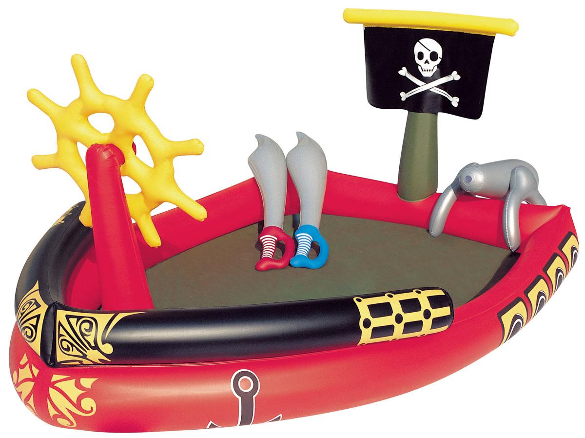 Bestway Бассейн надувной игровой Пираты.53041Надувной игровой бассейн Bestway Пираты изготовлен из прочного и испытанного винила и имеет предохранительные клапаны.В комплекте найдется все необходимое для настоящего пиратского приключения - 2 шпаги и супер-брызгальная водяная пушка, которая присоединяется к обычному садовому шлангу. Вода из бассейна спускается с помощью простого в использовании сливного клапана.В комплект также входит ремонтная заплата на случай прокола.Надувной бассейн подарит много положительных эмоций вашему малышу.Расчетный объем бассейна: 212 литров.