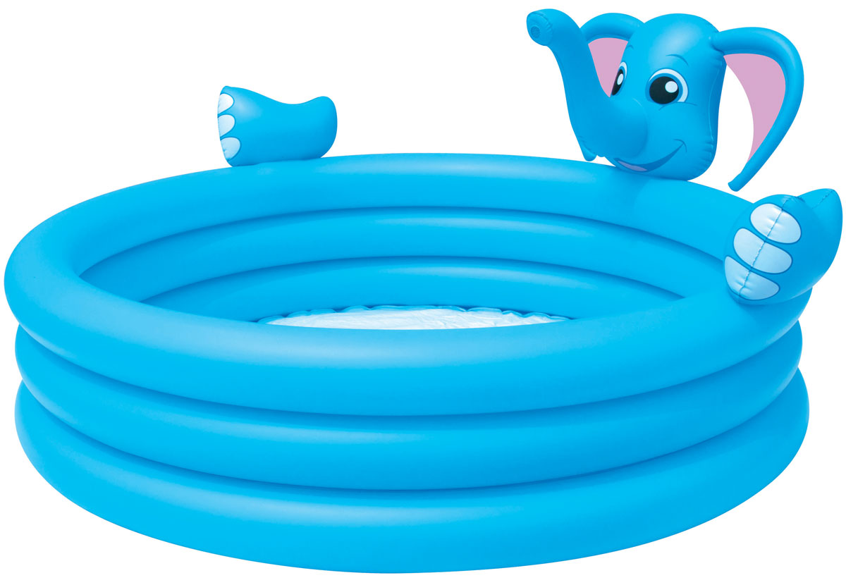 Bestway Бассейн надувной Слоник.53048Надувной бассейн Bestway Слоник выполнен из прочного и высококачественного винила.Надежный и яркий бассейн в виде слоника имеет 3 кольца одинакового размера, а также предохранительные клапаны. На бортике бассейна расположена голова слона, с функцией фонтанчика. Подключите бассейн к садовому шлангу и из хобота слоненка на детей будет литься водичка, что вдвойне весело и интересно! Вода из бассейна спускается с помощью простого в использовании сливного клапана.В комплект с бассейном входит специальная заплата для ремонта изделия в случае прокола.Расчетный объем бассейна: 324 литра.