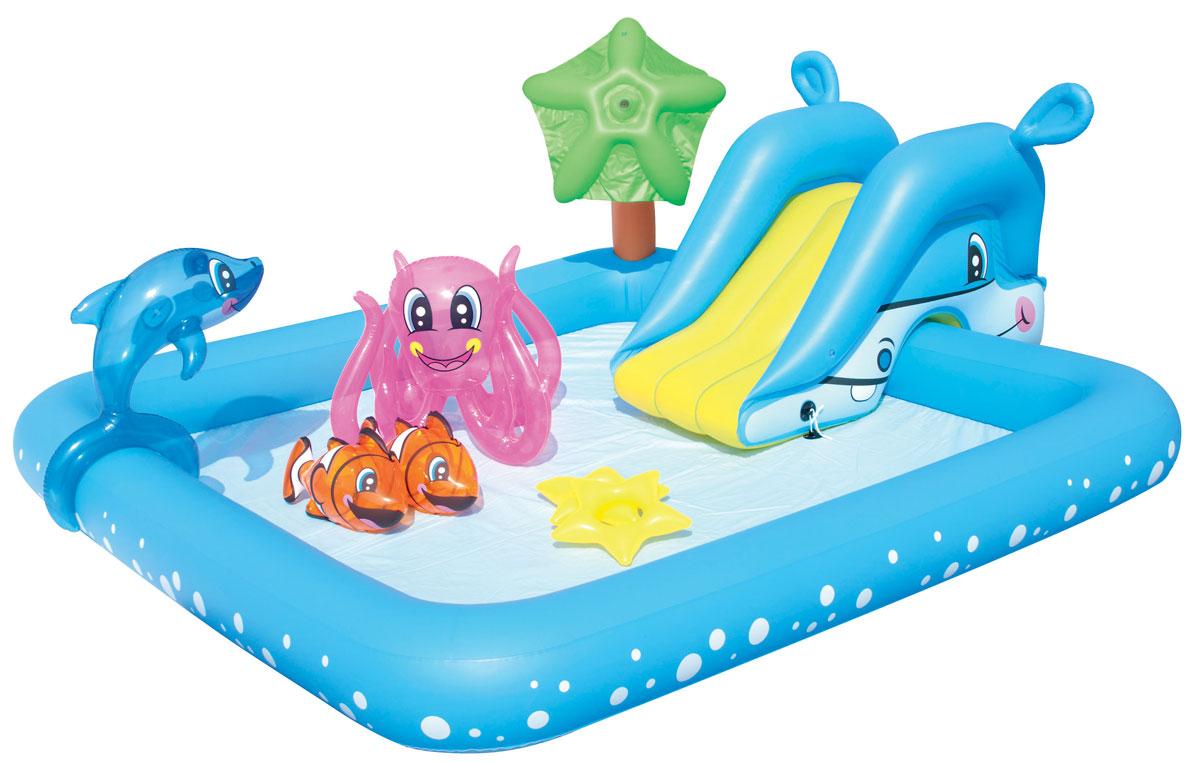 Bestway Бассейн надувной игровой Фантастический аквариум.53052Для ребенка наиболее важен яркий и красочный внешний вид бассейна, а также его глубина. А вот для родителей более важным является как безопасность материалов, из которых изготовлен бассейн, так удобство и простота в его установке и эксплуатации.Надувной игровой бассейн Bestway Фантастический аквариум обладает всеми вышеперечисленными характеристиками, поэтому идеально подходит и детям, и родителям. Надувная съемная горка привязывается шнуром через люверсы, разбрызгиватель присоединяется к садовому шлангу и ребят ждет освежающий фонтанчик! Вода из бассейна спускается с помощью простого в использовании сливного клапана. Бассейн оснащен предохранительными клапанами.В комплект с бассейном входит специальная заплата для ремонта изделия в случае прокола.Расчетный объем бассейна: 308 литров.