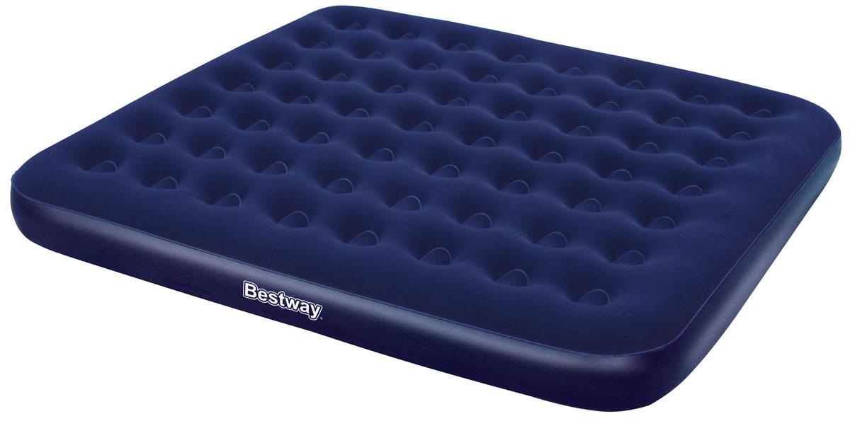 Bestway Матрас надувной, 203 х 183 х 22 см, цвет синий. 6700467004Комфортное флоковое покрытие. Подходит для использования в помещении и на улице. Изготовлено из полимерных материалов. Винтовой клапан для быстрого сдувания или надувания. Прочная баночная конструкция. В комплекте заплатка для ремонта.Размер матраса: 2,03 х 1,83 х 0,22 м.
