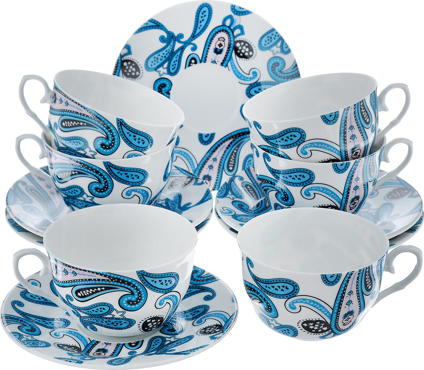 Чайный набор LarangE Пейсли, цвет: белый, синий, 12 предметов586-314Чайный набор LarangE Пейсли состоит из шести чашек и шести блюдец,изготовленных из фарфора. Предметы набора оформленыизящным ярким рисунком.Чайный набор LarangE Пейсли украсит ваш кухонный стол, а такжестанет замечательным подарком друзьям и близким.Объем чашки: 250 мл.Диаметр чашки по верхнему краю: 9 см.Высота чашки: 6 см.Диаметр блюдца: 14,5 см.