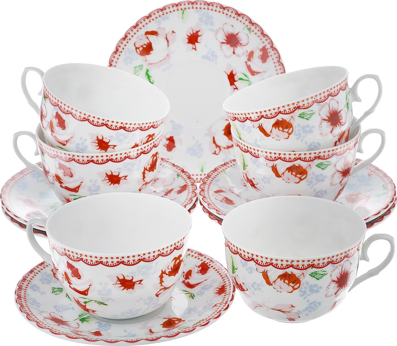 Чайный набор LarangE Кантри, цвет: белый, красный, 12 предметов586-320Чайный набор LarangE Кантри состоит из шести чашек и шести блюдец,изготовленных из фарфора. Предметы набора оформленыизящным ярким рисунком.Чайный набор LarangE Кантри украсит ваш кухонный стол, а такжестанет замечательным подарком друзьям и близким.Объем чашки: 250 мл.Диаметр чашки по верхнему краю: 9 см.Высота чашки: 6 см.Диаметр блюдца: 14,5 см.