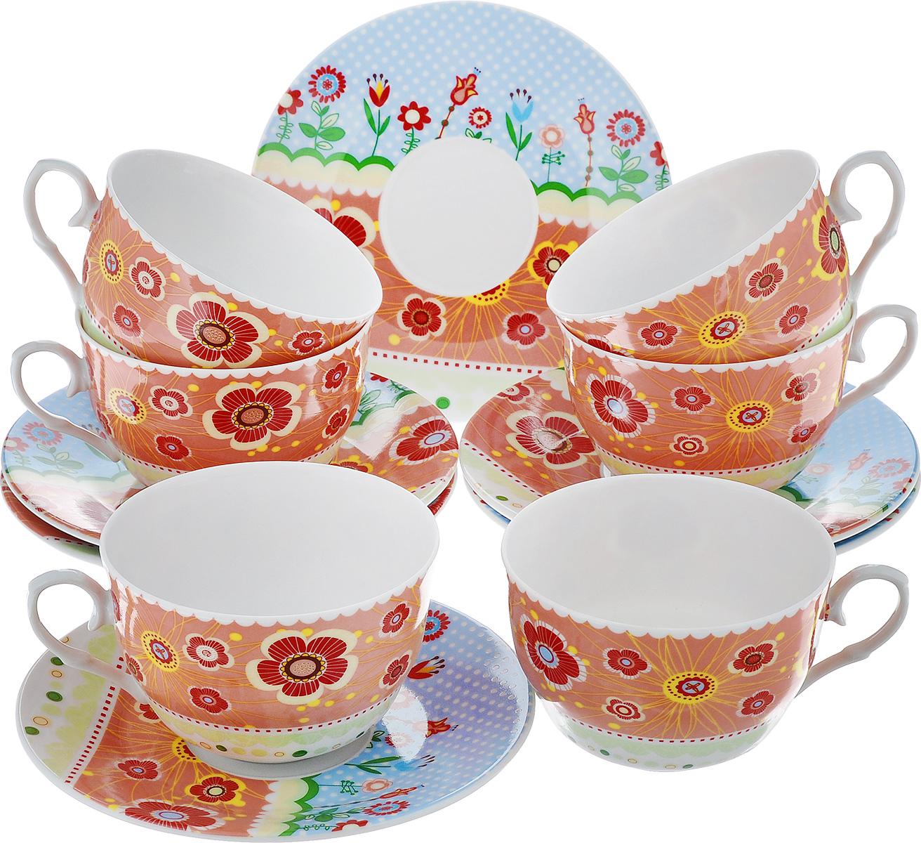 Чайный набор LarangE Фьюжн, цвет: оранжевый, голубой, 12 предметов586-317Чайный набор LarangE Фьюжн состоит из шести чашек и шести блюдец,изготовленных из фарфора. Предметы набора оформленыизящным ярким рисунком.Чайный набор LarangE Фьюжн украсит ваш кухонный стол, а такжестанет замечательным подарком друзьям и близким.Объем чашки: 250 мл.Диаметр чашки по верхнему краю: 9 см.Высота чашки: 6 см.Диаметр блюдца: 14,5 см.