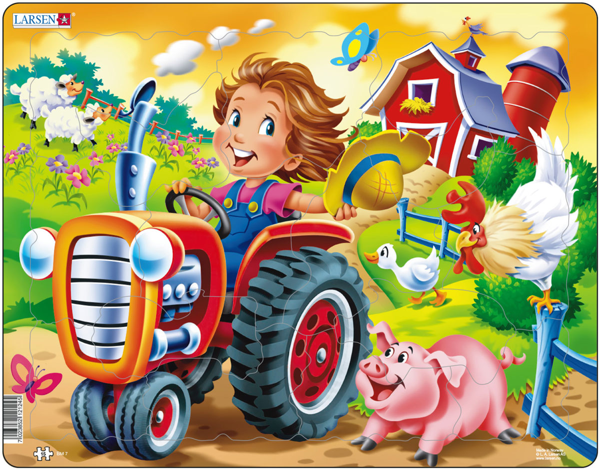 Larsen Пазл Дети на ферме Трактор larsen трактор самосвал в асс