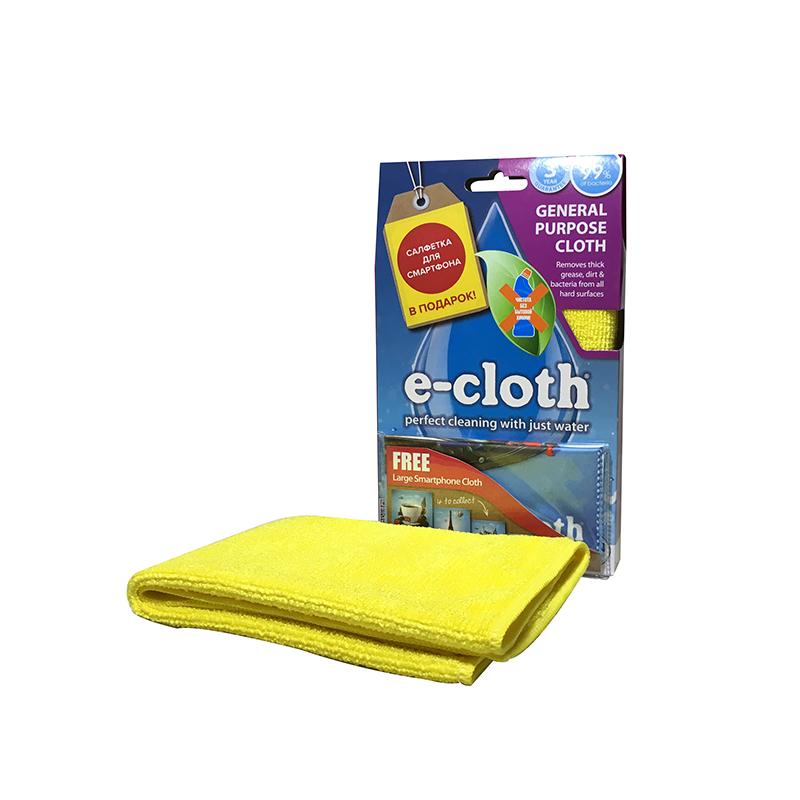 Салфетка универсальная E-cloth, цвет: желтый, 32 х 32 см + ПОДАРОК: Салфетка для смартфона20230_желтыйУниверсальная салфетка E-cloth используется для очистки любых твердых поверхностей без использования химикатов, идеальна для нержавеющей стали, стекла, кухонных столешниц. Достаточно лишь смочить салфетку водой для очистки поверхности от жира и других загрязнений. Для очистки от пыли используйте сухую салфетку. Удаляет жир, грязь и свыше 99% бактерий. Выдерживает до 300 циклов стирки без потери эффективности. Материал: 80% полиэстер, 20% полиамид.