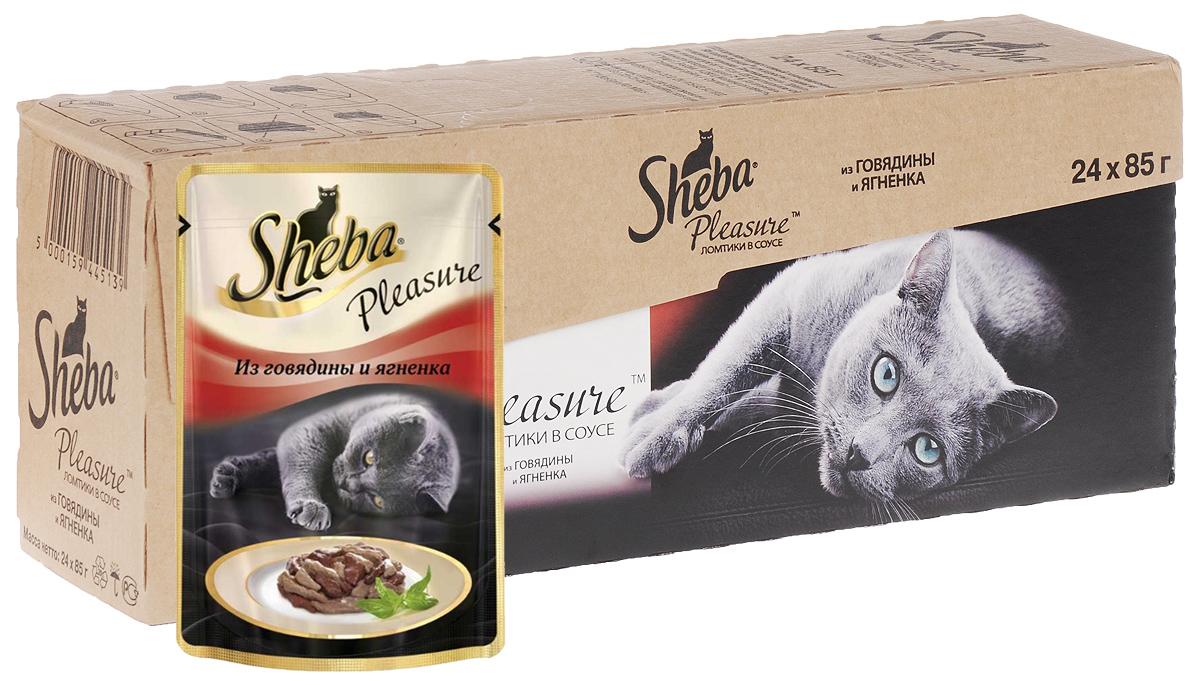 Консервы для взрослых кошек Sheba Pleasure, с говядиной и ягненком в соусе, 85 г, 24 шт40744Консервы Sheba Pleasure - это полнорационный консервированный корм для взрослых кошек. Не содержит сои, искусственных красителей и ароматизаторов. Этот деликатес, без сомнений, заслуживает внимания вашей любимицы. Сочные ломтики из говядины и ягненка создают неповторимое вкусовое сочетание. Блюдо приправляется фирменным соусом от шеф-повара Sheba, делая его по-настоящему уникальным. Вашей кошке оно придется по вкусу.Состав: мясо и субпродукты (говядина минимум 20%, ягненок минимум 5%), таурин, витамины и минеральные вещества. Пищевая ценность в 100 г: белки - 11,0 г; жиры - 3,0 г; зола - 2,0 г; клетчатка - 0,3 г; витамин А - не менее 90 МЕ; витамин Е - не менее 1,0 МЕ; влага - 82 г. Энергетическая ценность в 100 г: 75/314 кДж ккал.Вес: 24 х 85 г.Товар сертифицирован.