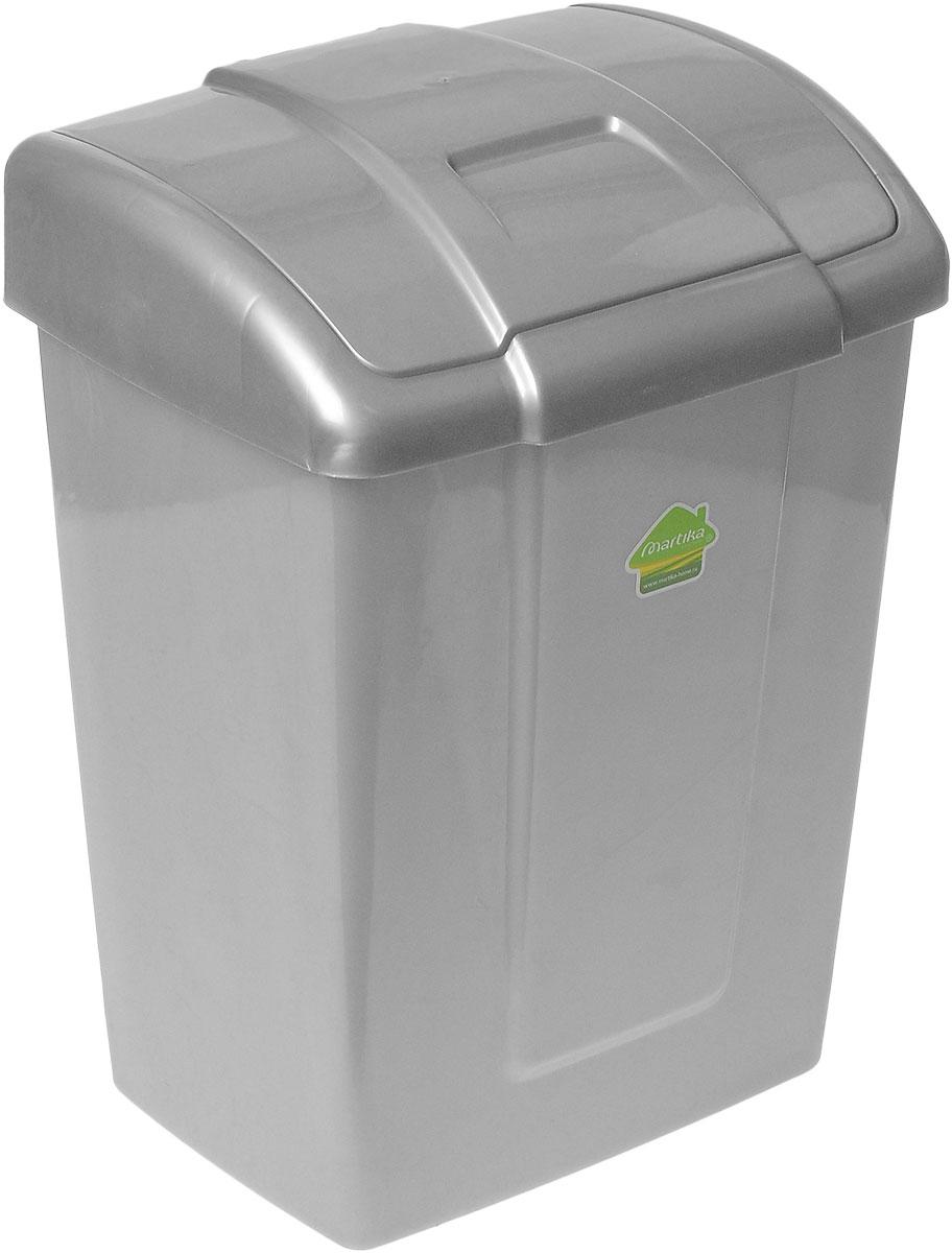 """Мусорный контейнер Martika """"Форте"""", выполненный из прочного пластика, не боится ударов и долгих лет использования. Изделие оснащено крышкой с подвижной перегородкой, с помощью которой его легко использовать. Крышка плотно прилегает, предотвращая распространение запаха. Вы можете использовать такой контейнер для выбрасывания не пищевых отходов. Он может пригодиться в офисе, в ванной комнате или у туалетного столика. Размер контейнера: 27 см х 21 см х 36,5 см."""