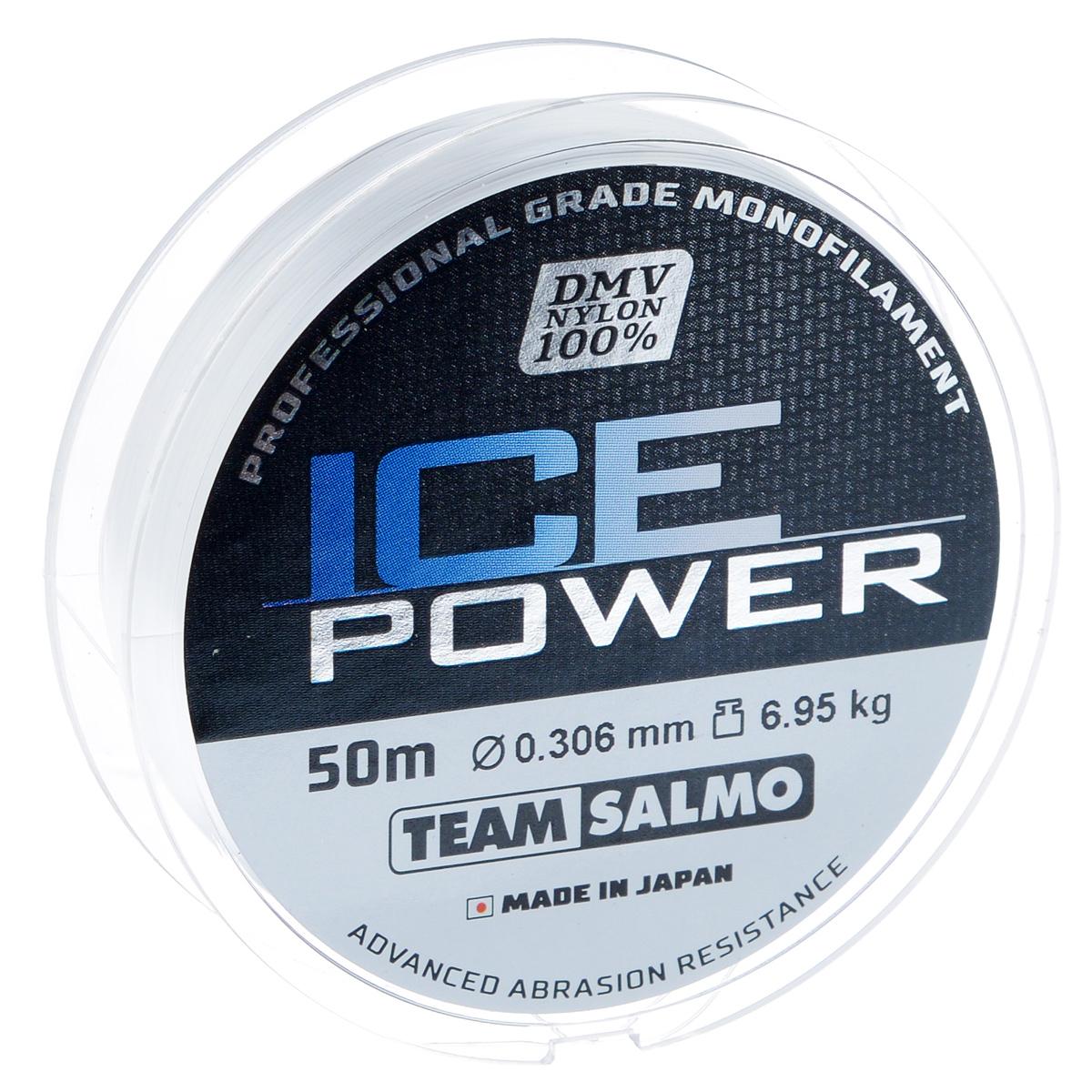 Леска монофильная Team Salmo Ice Power, сечение 0,306 мм, длина 50 м леска монофильная salmo tournament сечение 0 083 мм длина 50 м