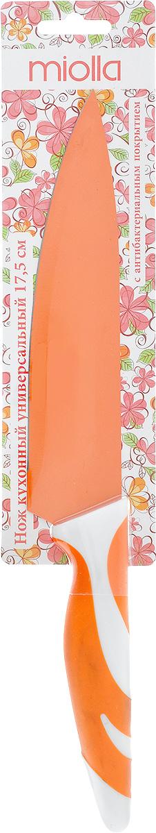 Нож кухонный Miolla, цвет: оранжевый, длина лезвия 17,5 см. 1508055U1508055UКухонный нож Miolla - незаменимый помощник на вашей кухне. Лезвие изготовлено из стали. Стальные лезвия более стойкие к воздействию кислот, содержащихся в продуктах, они более гигиеничны и не подвержены коррозии. Кроме того, лезвия из стали сохраняют остроту дольше, чем другие ножи. Цветное антибактериальное покрытие лезвия предотвращает развитие микробной среды на продуктах, а также препятствует их налипанию и окислению в процессе резки.Легкая, отлично сбалансированная и приятная на ощупь рукоятка удобна в использовании. Разделочный нож используется для нарезания и шинковки любых продуктов. Можно мыть в посудомоечной машине. Общая длина ножа: 30 см.