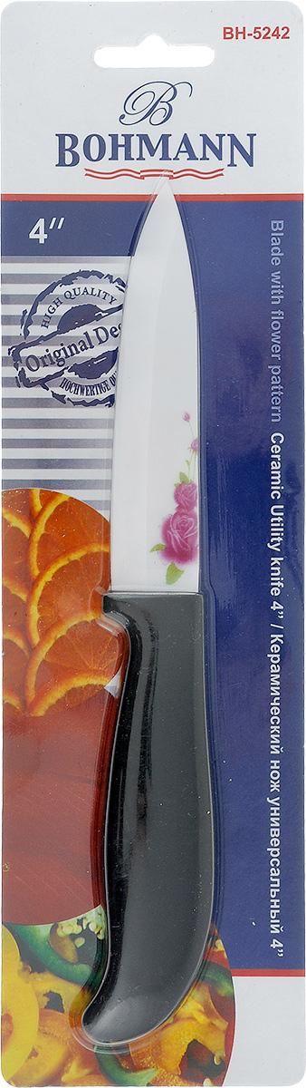 Нож универсальный Bohmann, керамический, длина лезвия 10 см. 5242BH5242BHНож Bohmann изготовлен из высококачественной керамики белого цвета с цветочным узором. Такой нож отлично подходит для нарезки мяса, измельчения овощей, фруктов. Керамическая поверхность значительно улучшает гигиенические свойства ножа и уменьшает процесс окисления, помогая сохранить полезные свойства продукта. Он очень легкий и абсолютно не ржавеет. Эргономичная рукоятка ножа выполнена из пластика черного цвета. Керамический нож Bohmann предоставит вам все необходимые возможности в успешном приготовлении пищи. Не резать на стеклянных и металлических поверхностях. Желательно использовать пластиковые и деревянные разделочные доски. Не рубить кости и замороженные продукты.Можно мыть в посудомоечной машине. Общая длина ножа: 21,5 см.