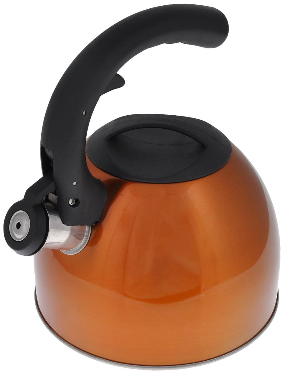 Чайник Mayer & Boch со свистком, цвет: медный, черный, 2,5 л. 2319723197Чайник Mayer & Boch изготовлен из высококачественной нержавеющей стали с внешней цветной поверхностью. Гладкая и ровная поверхность существенно облегчает уход. Чайник оснащен удобной нейлоновой ручкой, которая не нагревается даже при продолжительном периоде нагрева воды. Носик чайника имеет насадку-свисток, что позволит вам контролировать процесс подогрева или кипячения воды. Выполненный из качественных материалов, чайник Mayer & Boch при кипячении сохраняет все полезные свойства воды. Чайник пригоден для использования на всех типах плит, кроме индукционных. Можно мыть в посудомоечной машине. Высота стенок чайника: 12 см.Толщина стенок чайника: 2 мм.Высота чайника (с учетом ручки): 22,5 см.