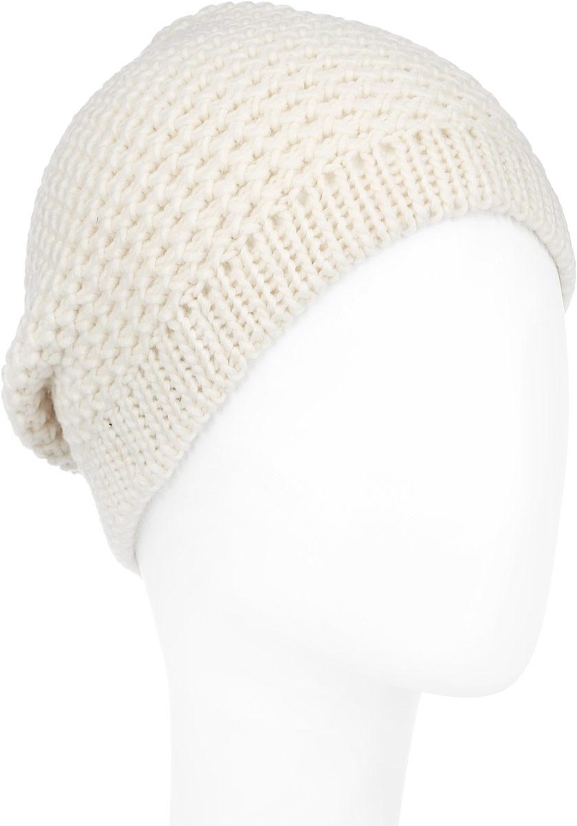 Шапка женская Venera, цвет: кремовый. 9800303-01. Размер универсальный9800303-01Вязаная женская шапка Venera отлично дополнит ваш образ в холодную погоду. Шапка выполнена крупной вязкой из мягкой пряжи, которая не доставит дискомфорта при носке. Сочетание шерсти и акрила максимально сохраняет тепло и обеспечивает удобную посадку. Теплая шапка станет отличным дополнением к вашему осеннему или зимнему гардеробу, в ней вам будет уютно и тепло!