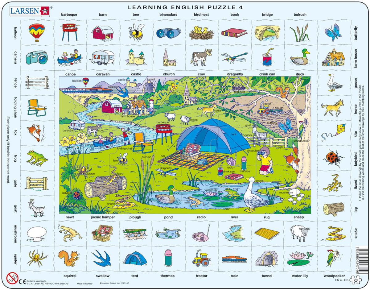 Larsen Пазл Изучаем английский 4 пазлы бомик алфавит английский