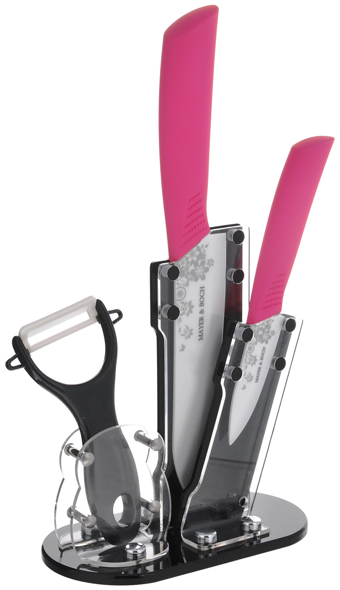 Набор керамических ножей Mayer & Boch, цвет: белый, темно-розовый, 4 предмета. 2185821858_темно-розовыйНабор ножей Mayer & Boch состоит из поварского ножа, ножа для чистки, ножа-пиллера и подставки. Лезвия ножей выполнены из высококачественной керамики и декорированы цветочным орнаментом. Керамические ножи не подвергаются коррозии и не придают металлического привкуса или запаха, а также сохраняют свежесть продуктов. Режущая кромка лезвий устойчива к притуплению. Ножи высоко гигиеничны и легки в очистке. Рукоятки эргономичной формы выполнены из ABS-пластика с прорезиненным покрытием. Специальный дизайн рукоятки обеспечивает комфортный и легко контролируемый захват. В комплект входит акриловая подставка. В наборе есть все необходимое для ежедневной нарезки фруктов, овощей и мяса. Ножи не рекомендуется мыть в посудомоечной машине. Длина лезвия поварского ножа: 15 см. Общая длина поварского ножа: 27,5 см. Длина лезвия ножа для чистки: 7,5 см. Общая длина ножа для чистки: 18 см. Длина лезвия ножа-пиллера: 4,2 см. Длина ножа-пиллера: 13 см. Размер подставки (ДхШхВ): 15,5 см х 8,5см х 18 см.