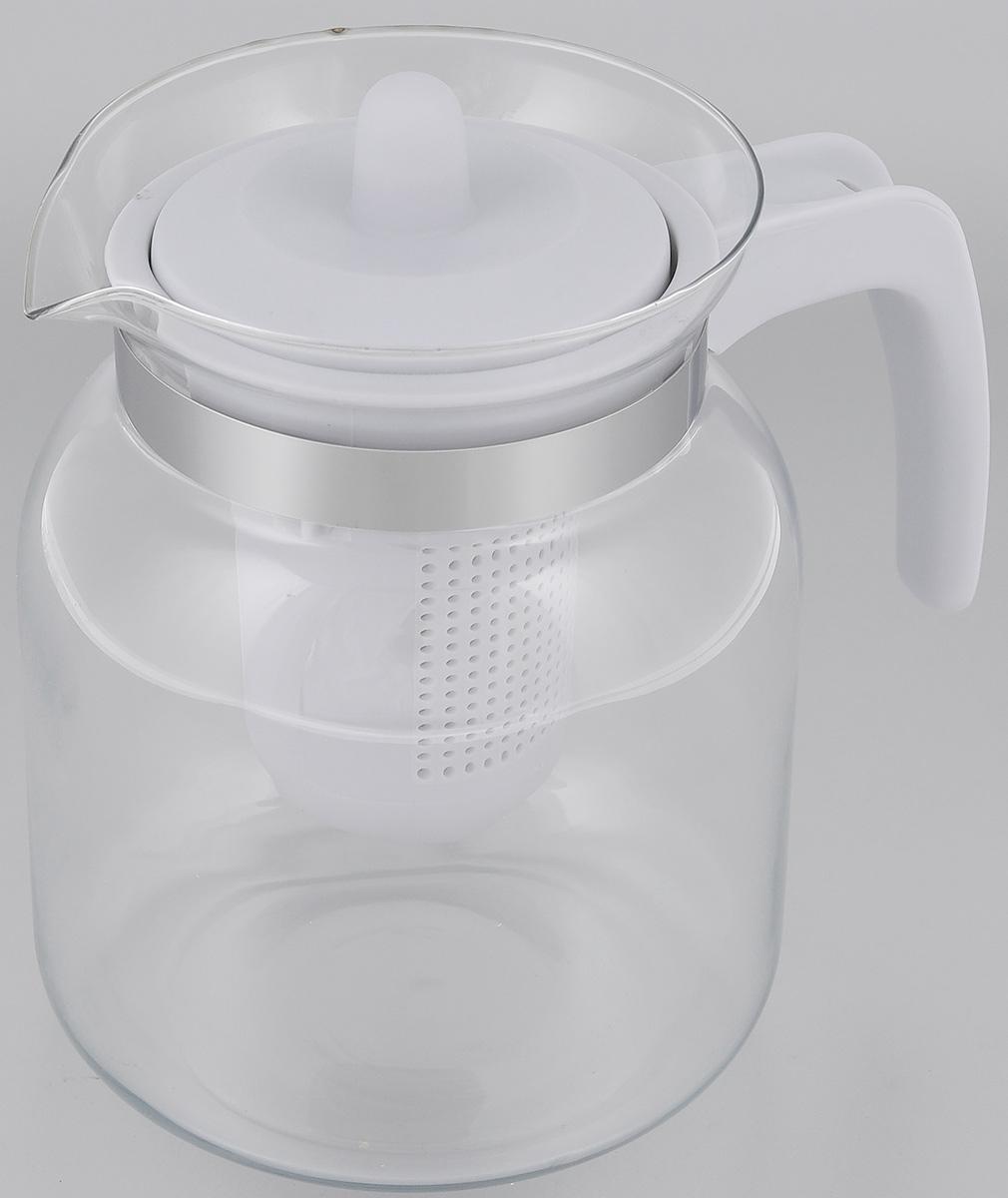 Чайник-кувшин Menu Чабрец, с фильтром, цвет: прозрачный, серый, 1,45 лCHZ-14_серЧайник-кувшин Menu Чабрец изготовлен из прочного стекла, которое выдерживает температуру до 100 °C. Он прекрасно подойдет для заваривания чая и травяных настоев.Классический стиль и оптимальный объем делают чайник удобным и оригинальным аксессуаром, который прекрасно подойдет для ежедневного использования. Ручка изделия выполнена из пищевого пластика, она не нагревается и обеспечивает безопасность использования. Благодаря съемному ситечку и оптимальной форме колбы, чайник-кувшин Menu Чабрец идеально подходит для использования его в качестве кувшина для воды и прохладительных напитков.Диаметр чайника по верхнему краю: 10,3 см.Общий диаметр чайника: 11 см.Высота чайника (без учета ручки и крышки): 15,6 см.Высота чайника (с учетом ручки и крышки): 17 см.