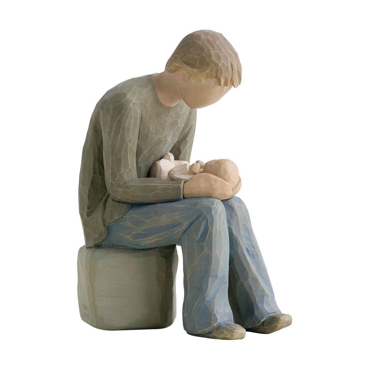 Фигурка декоративная Willow Tree Стать отцом, высота 14 см26129Декоративная фигурка Willow Tree создана канадским скульптором Сьюзан Лорди. Фигурка выполнена из искусственного камня (49% карбонат кальция мелкозернистой разновидности, 51% искусственный камень).Фигурка Willow Tree – это настоящее произведение искусства, образная скульптура в миниатюре, изображающая эмоции и чувства, которые помогают чувствовать себя ближе к другим, верить в мечту, выражать любовь.Фигурка помещена в красивую упаковку.Купить такой оригинальный подарок, значит не только украсить интерьер помещения или жилой комнаты, но выразить свое глубокое отношение к любимому человеку. Этот прекрасный сувенир будет лучшим подарком на день ангела, именины, день рождения, юбилей.