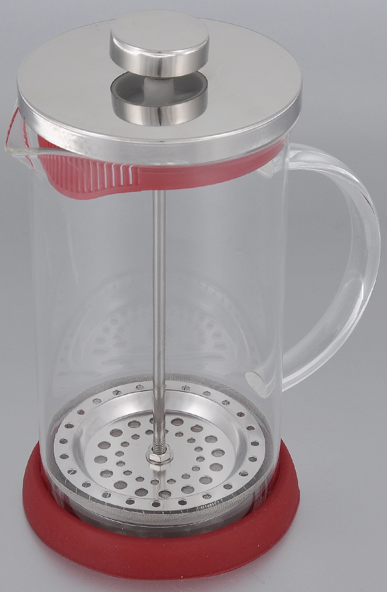 Френч-пресс Apollo Olimpique, цвет: красный, 600 млOLM-600_красныйФренч-пресс Apollo Olimpique выполнен из нержавеющей стали и предназначен для заваривания чая, кофе или травяных напитков. Корпус изготовлен из высококачественного жаропрочного стекла, устойчивого к окрашиванию, царапинам и термошоку. Френч-пресс имеет металлический сетчатый фильтр с загнутыми краями, который обеспечивает высокое качество фильтрации напитка. Ручка из пищевого пластика не нагревается и безопасна в использовании. Яркая подставка из силикона препятствует скольжению чайника. Эстетичный и функциональный чайник будет оригинально смотреться в любом интерьере. Нельзя мыть в посудомоечной машине. Высота френч-пресса (с учетом крышки): 18 см. Диаметр колбы (по верхнему краю): 9 см. Высота стенки колбы: 15,5 см. Объем: 600 мл.