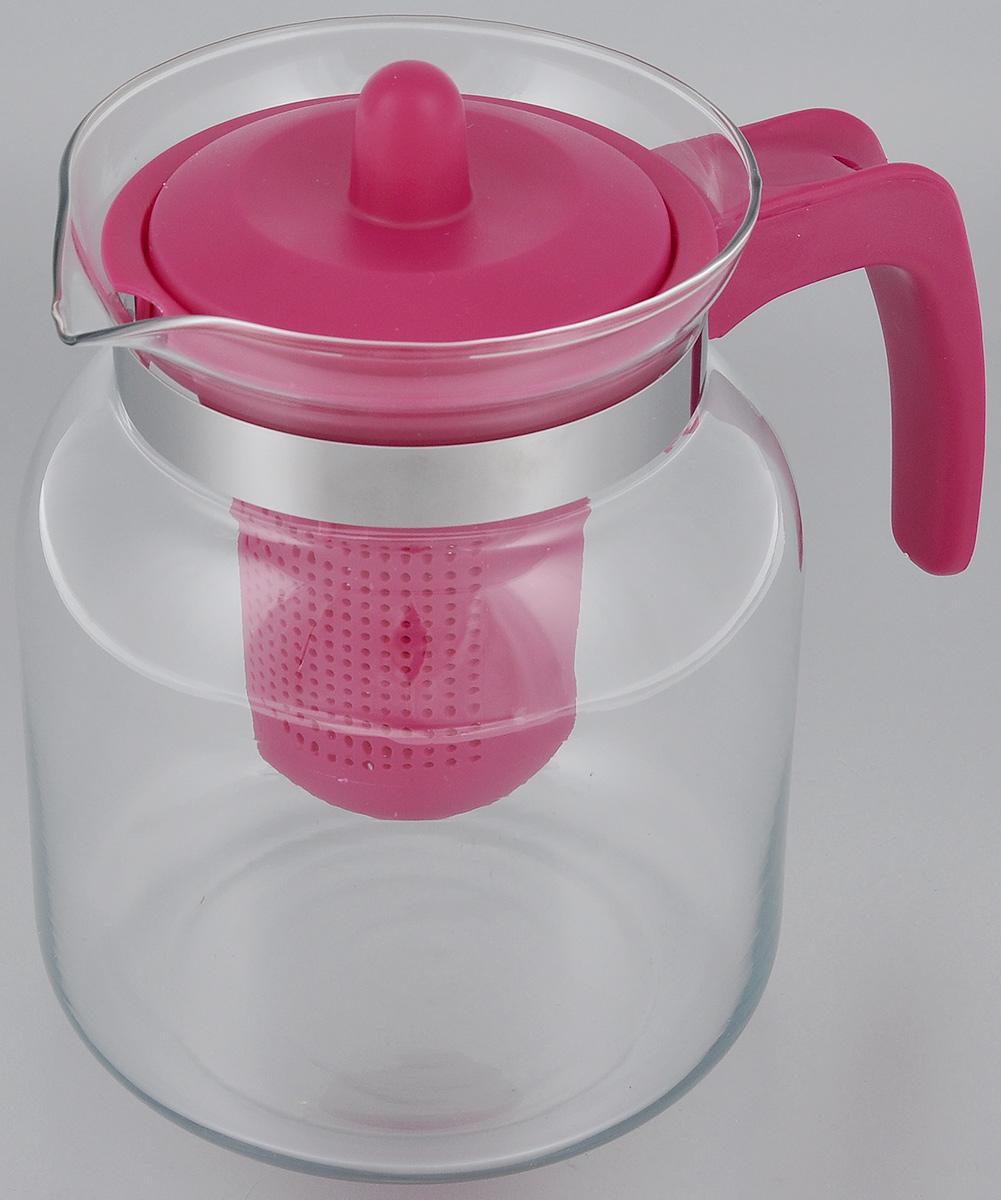 Чайник-кувшин Menu Чабрец, с фильтром, цвет: прозрачный, малиновый, 1,45 лCHZ-14_малиновыйЧайник-кувшин Menu Чабрец изготовлен из прочного стекла,которое выдерживает температуру до 100 °C. Он прекрасноподойдет для заваривания чая и травяных настоев. Классический стиль и оптимальный объем делают чайникудобным и оригинальным аксессуаром, который прекрасноподойдет для ежедневного использования. Ручка изделиявыполнена из пищевого пластика, она не нагревается иобеспечивает безопасность использования. Благодарясъемному ситечку и оптимальной форме колбы, чайник- кувшин Menu Чабрец идеально подходит для использованияего в качестве кувшина для воды и прохладительных напитков.Не рекомендуется использовать в посудомоечноймашине. Диаметр чайника (по верхнему краю): 10,3 см. Общий диаметр чайника: 11 см. Высота чайника (без учета ручки и крышки): 15,6 см. Высота чайника (с учетом ручки и крышки): 17 см. Высота фильтра: 8,5 см.