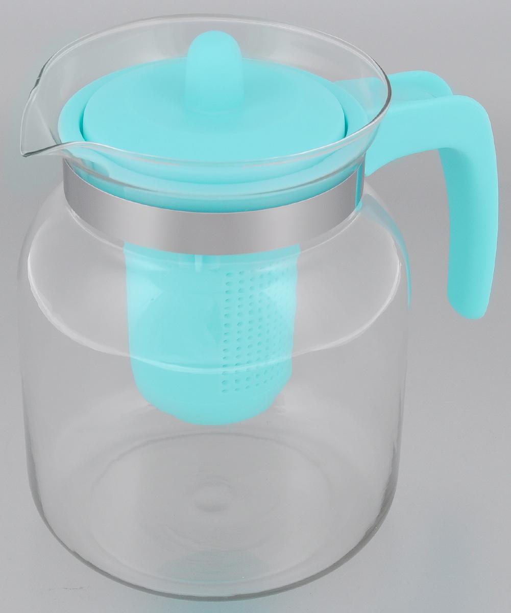 Чайник-кувшин Menu Чабрец, с фильтром, цвет: прозрачный, голубой, 1,45 лCHZ-14Чайник-кувшин Menu Чабрец изготовлен из прочного стекла, которое выдерживает температуру до 100 °C. Он прекрасно подойдет для заваривания чая и травяных настоев.Классический стиль и оптимальный объем делают чайник удобным и оригинальным аксессуаром, который прекрасно подойдет для ежедневного использования. Ручка изделия выполнена из пищевого пластика, она не нагревается и обеспечивает безопасность использования. Благодаря съемному ситечку и оптимальной форме колбы, чайник-кувшин Menu Чабрец идеально подходит для использования его в качестве кувшина для воды и прохладительных напитков.Диаметр чайника по верхнему краю: 10,3 см.Общий диаметр чайника: 11 см.Высота чайника (без учета ручки и крышки): 15,6 см.Высота чайника (с учетом ручки и крышки): 17 см.