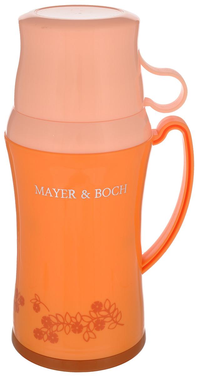Термос Mayer & Boch, с двумя чашками, цвет: оранжевый, белый, 600 мл22599Термос Mayer & Boch со стеклянной колбой в пластиковом корпусе является одним из востребованных в России. Его температурная характеристика ни в чем не уступает термосам со стальными колбами, но благодаря свойствам стекла этот термос может быть использован для заваривания напитков с устойчивыми ароматами. В комплекте с термосом - две чашки разных размеров. Завинчивающаяся герметичная крышка предохранит от проливаний. Температура напитков сохраняется до 24 часов. Этот термос станет не только надежным другом в походе, но и отличным украшением вашей кухни.Общий размер термоса: 13,5 см х 10,5 см х 25,2 см.Размер большой чашки (без учета ручки): 9 см х 9 см х 6,5 см.Размер маленькой чашки: 8,5 см х 8,5 см х 5 см.