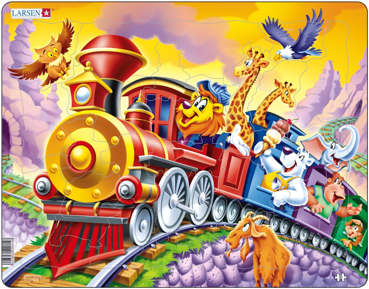 Larsen Пазл Поезд с цирком пазлы бомик пазлы книжка репка
