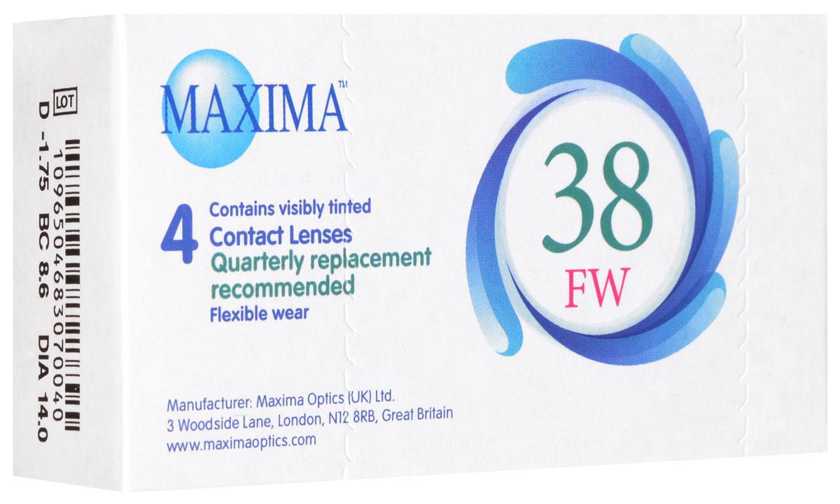 Maxima контактные линзы 38 FW (4 шт / 8.6 / -1.75)44344Линзы квартальной замены Maxima 38 FW обладают отличными клиническими характеристиками в сочетании с доступной ценой. Идеальны для перехода пациентов с традиционных линз к плановой замене. Ровный тонкий профиль края линзы Maxima 38 FW, незначительная толщина в центре обеспечивают комфорт ношения и улучшают кислородную проницаемость к роговице.Замена через 3 месяца. Характеристики:Материал: полимакон. Кривизна: 8.6. Оптическая сила: - 1.75. Содержание воды: 38%. Диаметр: 14 мм. Количество линз: 4 шт. Размер упаковки: 9,5 см х 5 см х 2 см. Производитель: США. Товар сертифицирован.Контактные линзы или очки: советы офтальмологов. Статья OZON Гид
