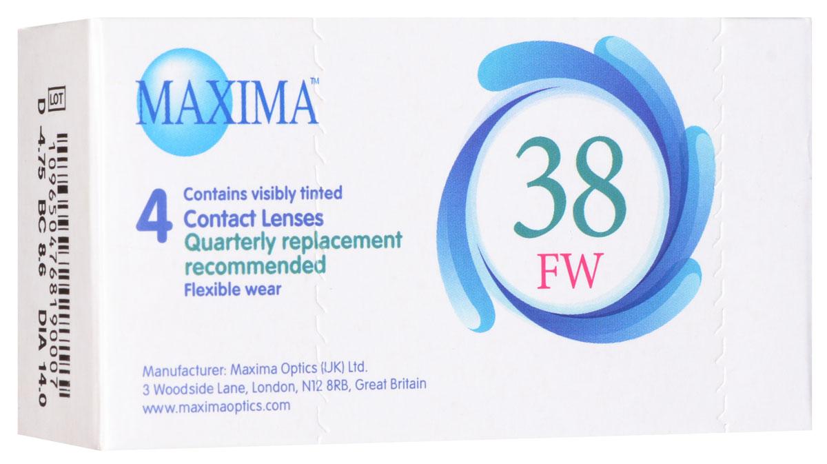 Maxima контактные линзы 38 FW (4 шт / 8.6 / -4.75)1001Линзы квартальной замены Maxima 38 FW обладают отличными клиническими характеристиками в сочетании с доступной ценой. Идеальны для перехода пациентов с традиционных линз к плановой замене. Ровный тонкий профиль края линзы Maxima 38 FW, незначительная толщина в центре обеспечивают комфорт ношения и улучшают кислородную проницаемость к роговице.Замена через 3 месяца. Характеристики:Материал: полимакон. Кривизна: 8.6. Оптическая сила: - 4.75. Содержание воды: 38%. Диаметр: 14 мм. Количество линз: 4 шт. Размер упаковки: 9,5 см х 5 см х 2 см. Производитель: США. Товар сертифицирован.Контактные линзы или очки: советы офтальмологов. Статья OZON Гид