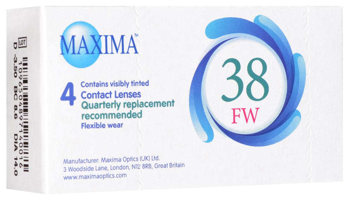 Maxima контактные линзы 38 FW (4 шт / 8.6 / -3.50)12084Линзы квартальной замены Maxima 38 FW обладают отличными клиническими характеристиками в сочетании с доступной ценой. Идеальны для перехода пациентов с традиционных линз к плановой замене. Ровный тонкий профиль края линзы Maxima 38 FW, незначительная толщина в центре обеспечивают комфорт ношения и улучшают кислородную проницаемость к роговице.Замена через 3 месяца. Характеристики:Материал: полимакон. Кривизна: 8.6. Оптическая сила: - 3.50. Содержание воды: 38%. Диаметр: 14 мм. Количество линз: 4 шт. Размер упаковки: 9,5 см х 5 см х 2 см. Производитель: США. Товар сертифицирован.Контактные линзы или очки: советы офтальмологов. Статья OZON Гид