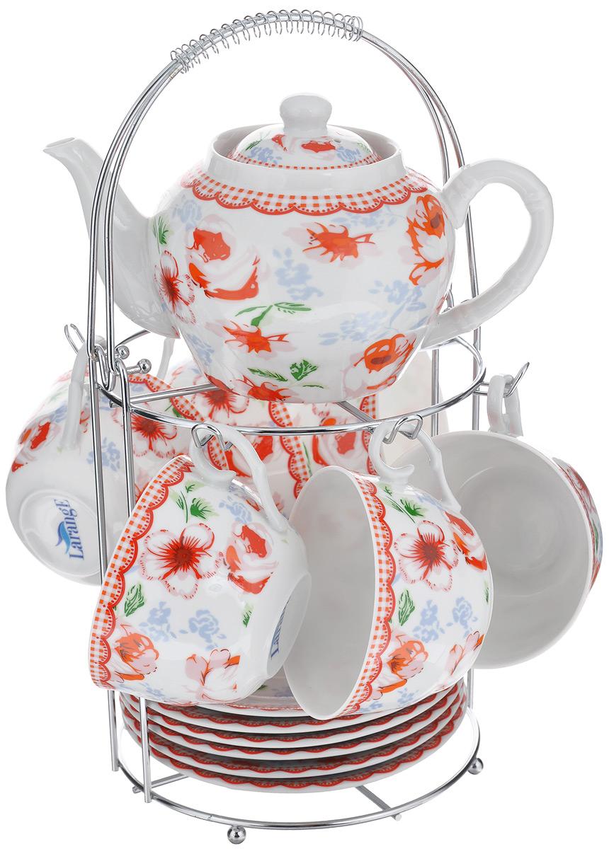 Набор чайный LarangE Кантри, цвет: белый, красный, голубой, 14 предметов586-344Чайный набор LarangE Кантри состоит из 6 чашек, 6 блюдец, чайника и подставки. Изделия выполнены из высококачественного фарфора и украшены ярким цветочным рисунком.Изящный чайный набор прекрасно оформит стол к чаепитию и станет замечательным подарком для любой хозяйки. Все изделия удобно располагаются на металлической подставке. Можно использовать в микроволновой печи. Объем чашки: 250 мл. Диаметр чашки (по верхнему краю): 9,5 см. Высота чашки: 6,2 см. Диаметр блюдца (по верхнему краю): 15 см. Высота блюдца: 2 см.Объем чайника: 600 мл. Высота чайника (без учета крышки): 9,5 см. Диаметр чайника (по верхнему краю): 7,2 см. Размер подставки: 17 см х 20 см 30 см.