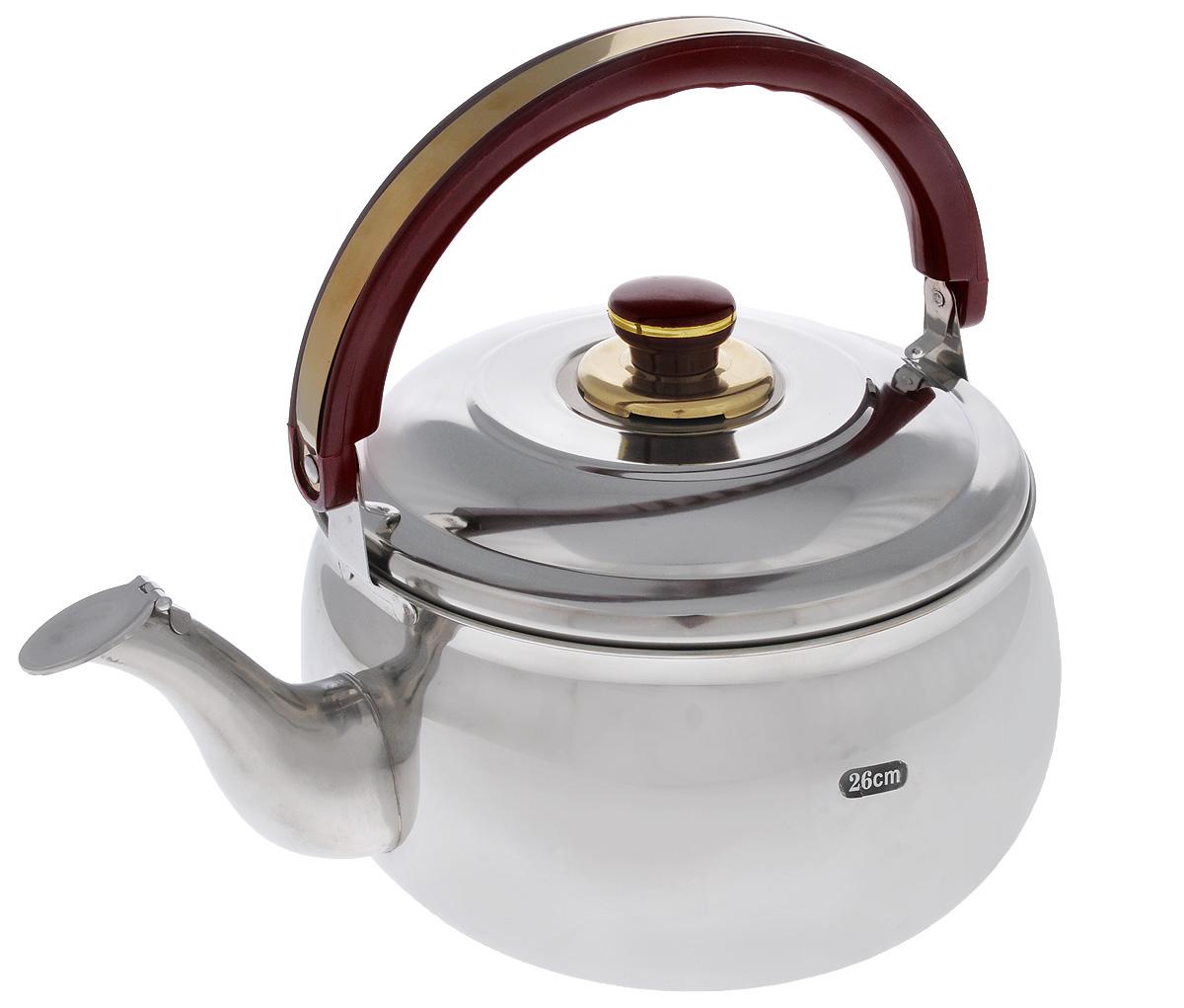 Чайник Mayer & Boch со свистком, 6 л. 79397939Чайник Mayer & Boch изготовлен из высококачественной нержавеющей стали, что делает его весьма гигиеничным и устойчивым к износу при длительном использовании. Гладкая и ровная поверхность существенно облегчает уход за посудой. Выполненный из качественных материалов чайник при кипячении сохраняет все полезные свойства воды. Металлические чайники прочны, красивы и прослужат вам много лет. Нержавеющая сталь не окисляется и не впитывает запахи, напитки всегда ароматные и имеют настоящий вкус. Подвижная ручка из бакелита делает использование чайника очень удобным и безопасным. Носик снабжен свистком, что позволит вам контролировать процесс подогрева или кипячения воды. Широкое верхнее отверстие поможет удобно налить в чайник воду. Эстетичный и функциональный, с эксклюзивным дизайном, чайник Mayer & Boch будет оригинально смотреться в любом интерьере. Подходит для всех типов плит, включая индукционные. Можно мыть в посудомоечной машине. Диаметр чайника (по верхнему краю): 22 см. Высота чайника (без учета крышки и ручки): 14,5 см. Высота чайника (с учетом ручки): 29,5 см.