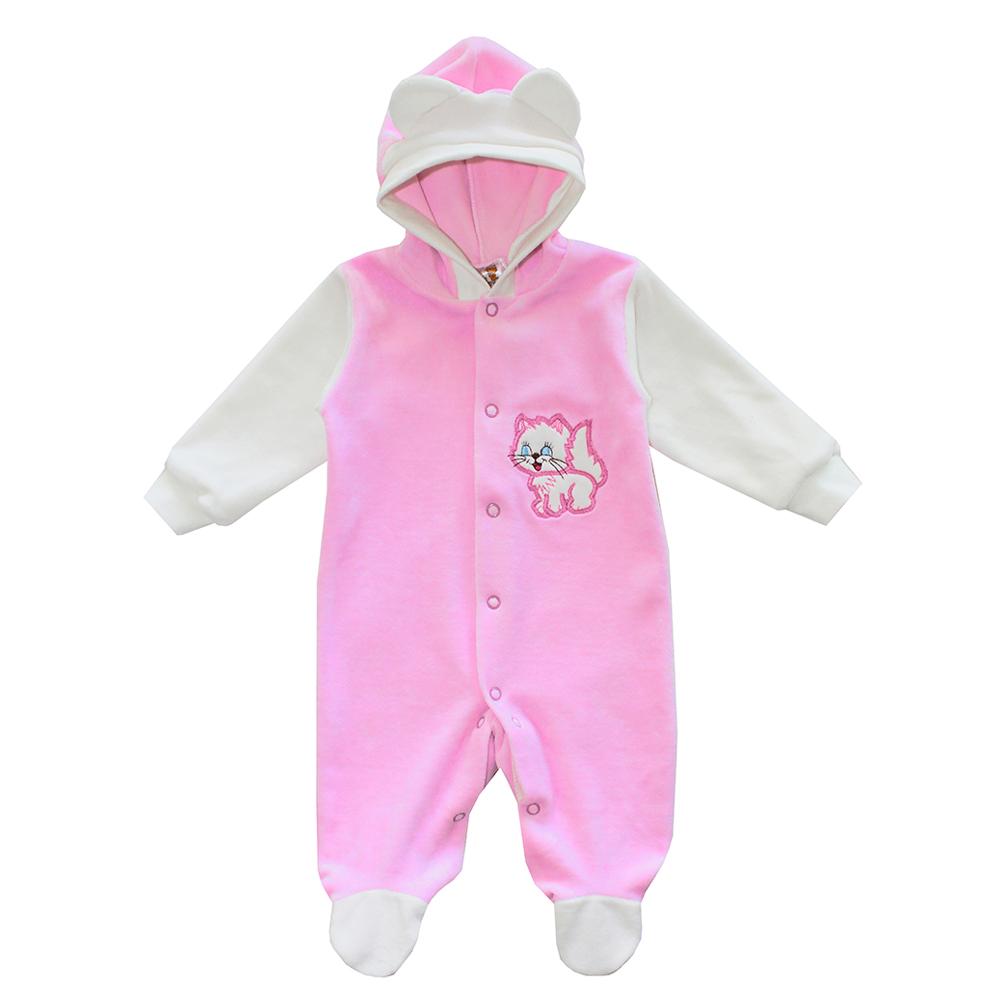 Комбинезон для девочки КотМарКот, цвет: розовый, кремовый. 2666. Размер 68, 3-6 месяцев2666Комбинезон для девочки КотМарКот полностью соответствует особенностям жизни младенца в ранний период, не стесняя и не ограничивая его в движениях. Выполненный из мягкого велюра, он очень приятный на ощупь, не раздражает нежную и чувствительную кожу ребенка, позволяя ей дышать.Комбинезон с длинными рукавами, капюшоном и закрытыми ножками имеет застежки-кнопки от горловины до щиколоток, которые помогают легко переодеть младенца или сменить подгузник. Капюшон по краю оформлен трикотажной широкой резинкой, украшен декоративными ушками. Низ рукавов дополнен мягкими широкими манжетами, не пережимающими запястья малыша. Модель декорирована аппликацией в виде котенка. В таком комбинезоне спинка и ножки младенца всегда будут в тепле, и кроха будет чувствовать себя комфортно и уютно.