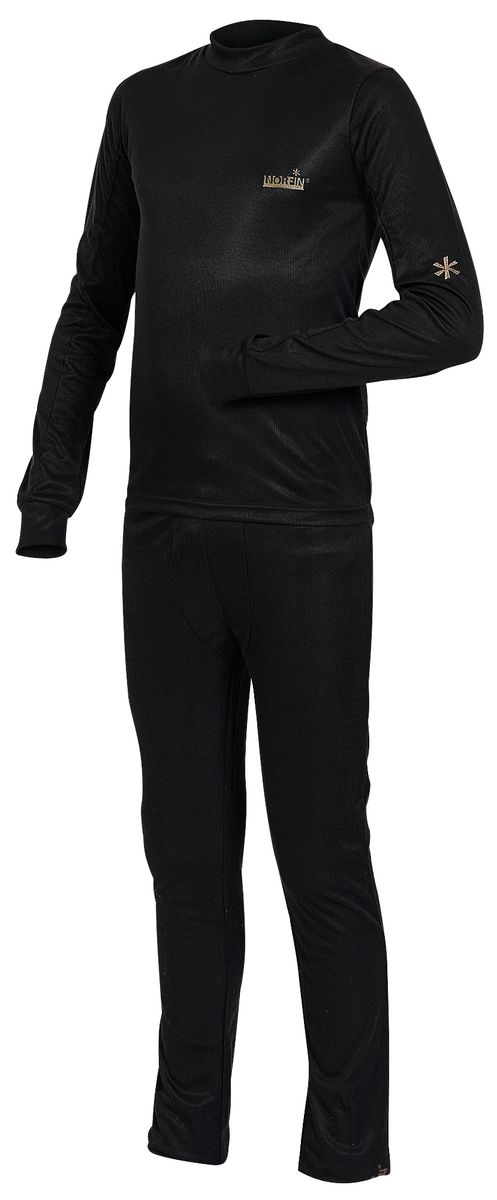 Комплект термобелья для мальчика Norfin Junior Thermo Line: футболка с длинным рукавом, брюки, цвет: черный. 308101. Размер 158308101Детский комплект термобелья Norfin Junior Thermo Line, состоящий из футболки с длинным рукавом и брюк, изготовлен из высококачественного материала -100% полиэстера, он идеально подойдет для ребенка в прохладную погоду.Футболка с длинными рукавами-реглан и круглым вырезом горловины дополненаудлиненной спинкой и оформлена небольшими вышивками. Рукава дополнены широкими трикотажными манжетами. Брюки прямого покроя на талии имеют широкую эластичную резинку, регулируемую шнурком. Ниш штанин дополнен широкими трикотажными манжетами. В таком комплекте термобелья вашему ребенку будет тепло и комфортно.